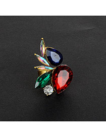 Fashion Red Water Drop Shape Diamond Decorated Color Matching Ring