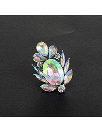 Fashion Multi-color Oval Shape Diamond Decorated Flower Shape Ring