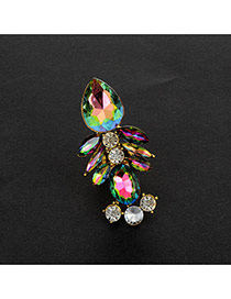 Fashion Green Water Drop Shape Diamond Decorated Color Matching Ring