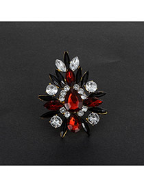 Fashion Red+sapphire Blue Geometric Shape Diamond Decorated Hollow Out Ring