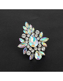 Fashion Multi-color Geometric Shape Diamond Decorated Hollow Out Ring