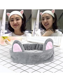 Fashion Gray Cat Ears Decorated Color Matching Design Hair Band