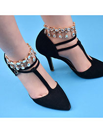 Fashion Gold Color Water Drop Shape Diamond Decorated Simple Anklet