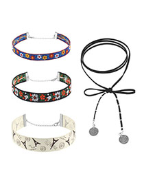 Fashion Multi-color Flower Pattern Decorated Simple Width Choker (4pcs)