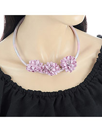 Fashion Light Purple Three Flowers Decorated Pure Color Simple Necklace
