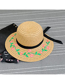 Fashion Kahaki Embroidery Pattern Decorated Bowknot Design Hat