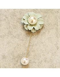 Fashion Green Pearld Decorated Flower Shape Design Hair Brooch