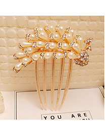 Fashion Gold Color Pearls&diamond Decorated Phoenix Shape Hair Pin