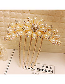 Fashion Gold Color Pearls&diamond Decorated Flower Shape Hair Pin