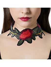 Fashion Red Embroidery Flower Pattern Decorated Simple Width Choker