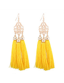 Fashion Yellow Long Tassel Pendant Decorated Hollow Out Flower Design Necklace