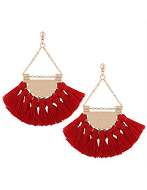 Fashion Red Tassel Pendant Decorated Sector Shape Design Necklace
