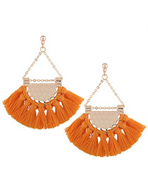 Fashion Yellow Tassel Pendant Decorated Sector Shape Design Necklace