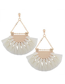 Fashion White Tassel Pendant Decorated Sector Shape Design Necklace