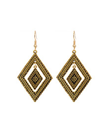 Fashion Gold Color Rhombus Shape Decorated Hollow Out Simple Earrings