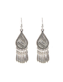 Fashion Silver Color Tassel Pendant Decorated Pure Color Earrings