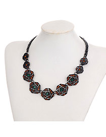 Fashion Multi-color Geometric Shape Decorated Color Matching Simple Necklace