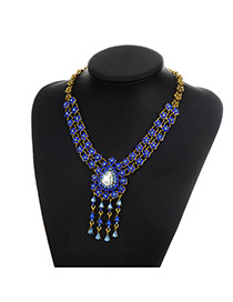 Fashion Sapphire Blue Tassel Pendant Decorated Double Layer Simple Necklace