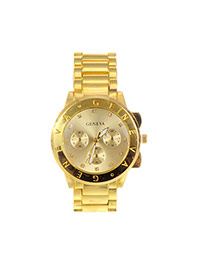 Fashion Gold Color Letter Pattern Decorated Pure Color Chain Watch