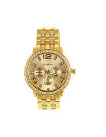 Fashion Gold Color Diamond Decorated Round Dail Pure Color Watch