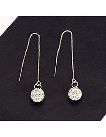 Fashion Silver Color Round Balls Pendant Decorated Pure Color Earrings