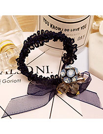 Elegant Navy Round Ball&bowknot Decorated Simple Hair Band