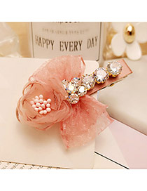 Sweet Pink Flower&bowknot Decorated Color Matching Hair Pin