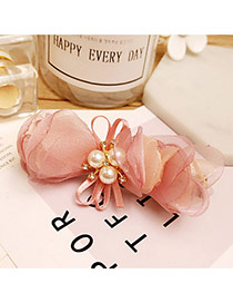 Fashion Pink Bowknot Decorated Pure Color Simple Hair Pin