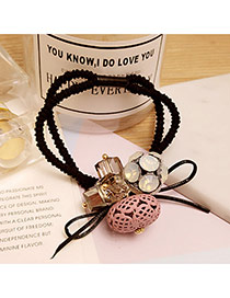 Fashion Pink Hollow Out Oval Shape Decorated Double Layer Hair Band