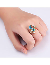 Fashion Gold Color Diamond Decorated Hollow Out Butterfly Design Ring