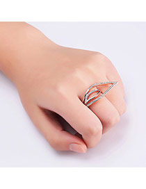 Fashion Rose Gold Diamond Decorated Hollow Out Geometric Shape Ring