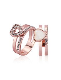 Fashion Rose Gold Hear Decorated Double Layer Simple Ring (2pcs)