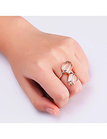 Fashion Rose Gold Buds Shape Decorated Pure Color Design Ring