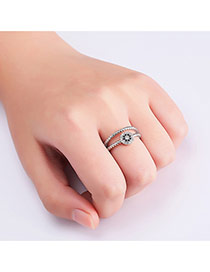 Fashion Silver Color Pure Color Decorated Double Layer Simple Ring