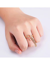Personalized Gold Color Long Tassel&lock Pendant Decorated Pure Color Opening Ring