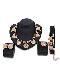 Fashion Gold Color Geometric Shape Decorated Pure Color Jewelry Sets (4pcs)