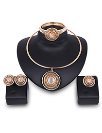 Fashion Gold Color Round Shape Decorated Hollow Out Simple Jewelry Sets(4pcs)