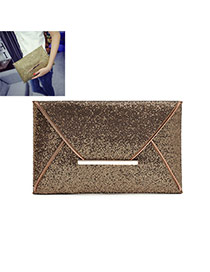 Fashion Copper Pure Color Decorated Envelop Shape Simple Handbag