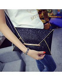Fashion Black Pure Color Decorated Envelop Shape Simple Handbag