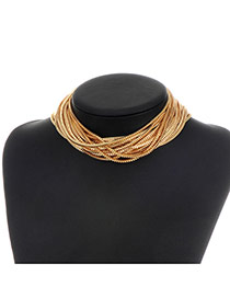 Fashion Gold Color Pure Color Decorated Multi-layer Simple Choker