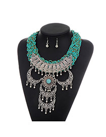Fashion Green Moon Shape Decorated Tassel Design Simple Jewelry Sets