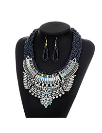 Fashion Gun Black Geometric Shape Diamond Decorated Color Matching Jewelry Sets