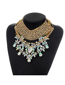 Fashion Multi-color Water Drop Shape Diamond Decorated Hollow Out Design Necklace