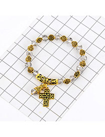 Fashion White Cross Pendant Decorated Color Matching Beads Bracelet