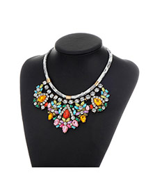 Fashion Pink+yellow Water Drop Shape Diamond Decorated Color Matching Necklace