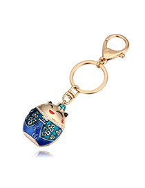 Fashion Champagne+blue Plutus Cat Pendant Decorated Simple Key Ring