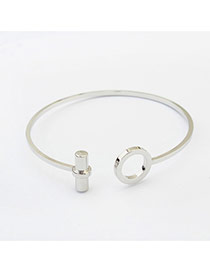 Fashion Silver Color Hollow Out Round Shape Decorated Pure Color Bracelet