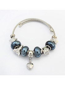 Fashion Dark Blue+silver Color Hear&beads Pendant Decorated Color Matching Bracelet