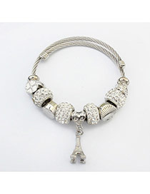 Fashion Silver Color Iron Tower&diamond Pendant Decorated Pure Color Bracelet