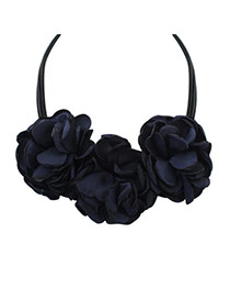 Bohemia Black Pure Color There Flower Decorated Multilayer Necklace